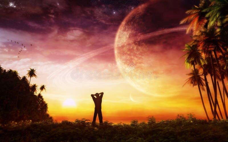 El despertar en paraíso stock de ilustración