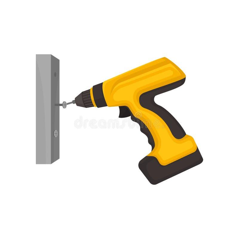 El destornillador amarillo tuerce un perno en la pared Ilustraci?n del vector en el fondo blanco libre illustration