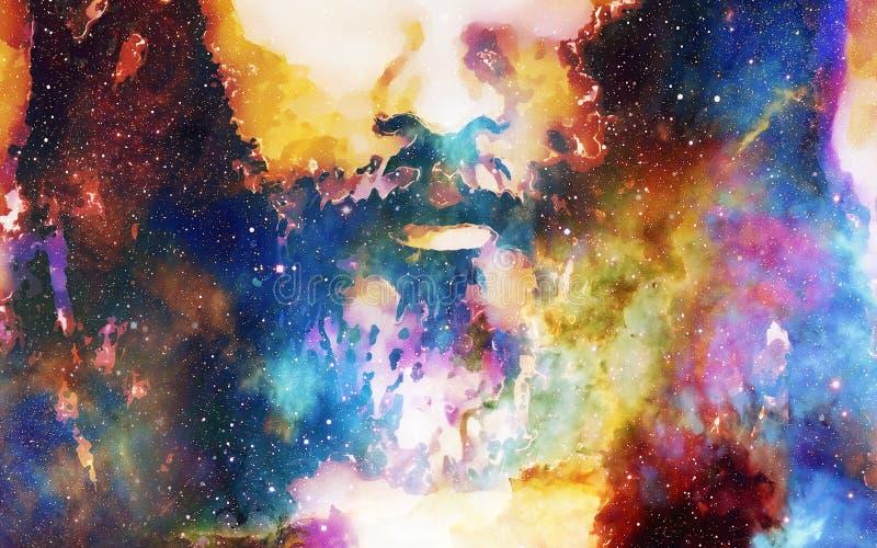 El detalle de Jesús hace frente en espacio cósmico versión del collage del ordenador ilustración del vector