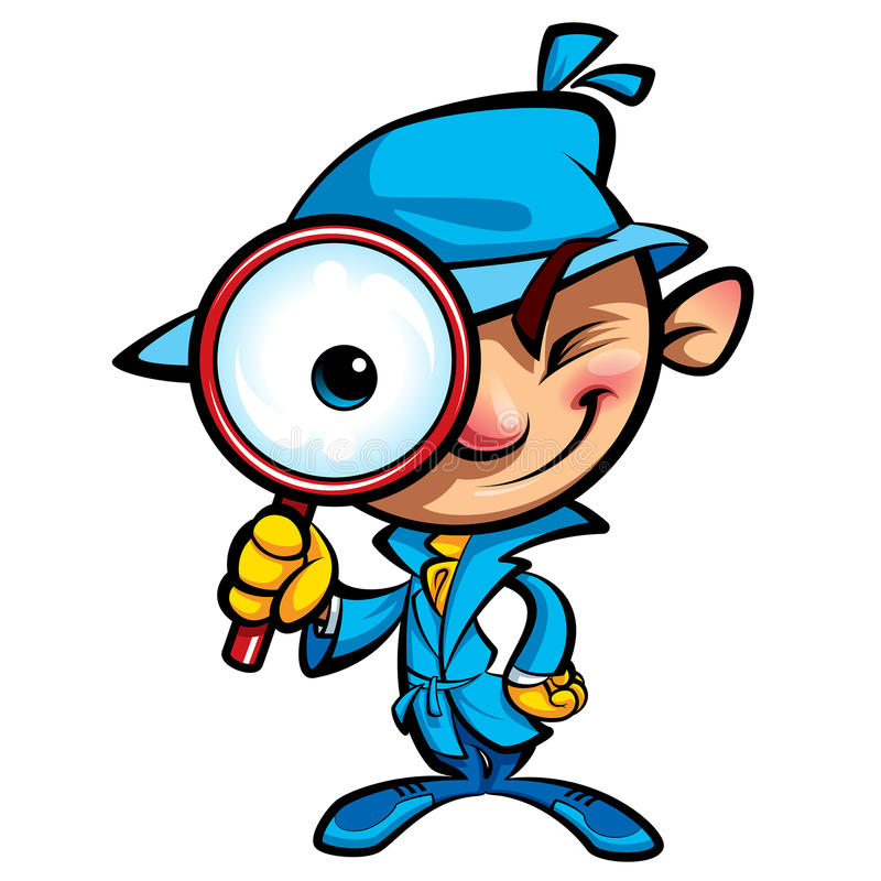 El detective lindo de la historieta investiga con la capa y el vidrio grande del ojo stock de ilustración
