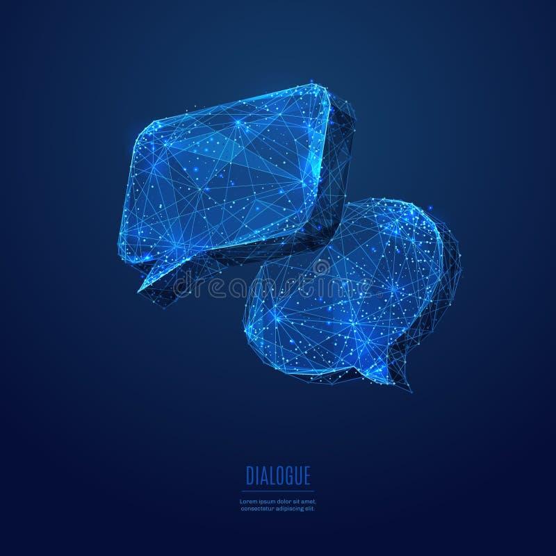 El diálogo se nubla el azul polivinílico bajo stock de ilustración