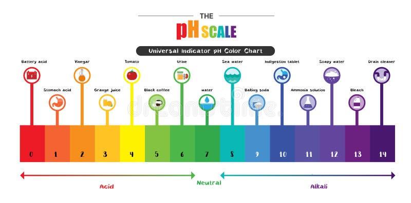 El diagrama de carta universal de color del indicador pH de la escala del pH ilustración del vector