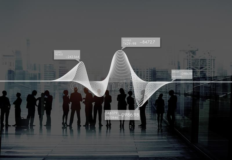 El diagrama representa el concepto común de los datos gráficamente de las estadísticas de la información foto de archivo libre de regalías