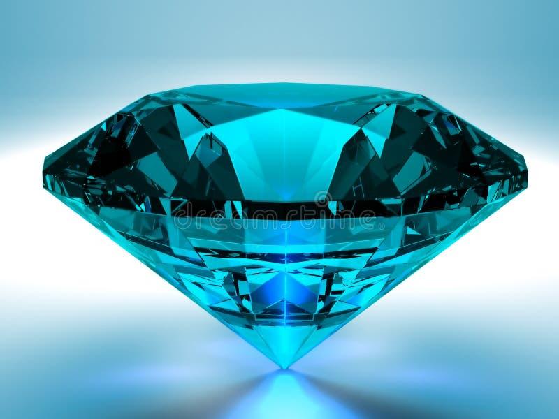 El diamante azul 3D rinde ilustración del vector