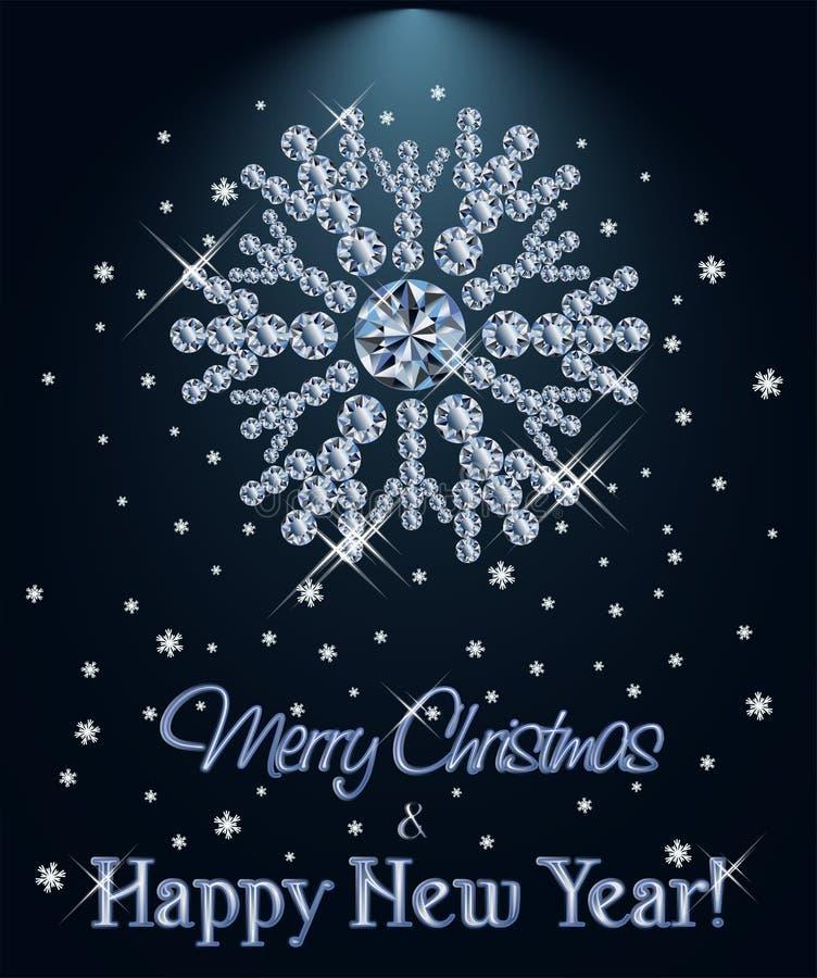 El diamante de la Feliz Navidad y de la Feliz Año Nuevo wallpaper con el copo de nieve de Navidad stock de ilustración