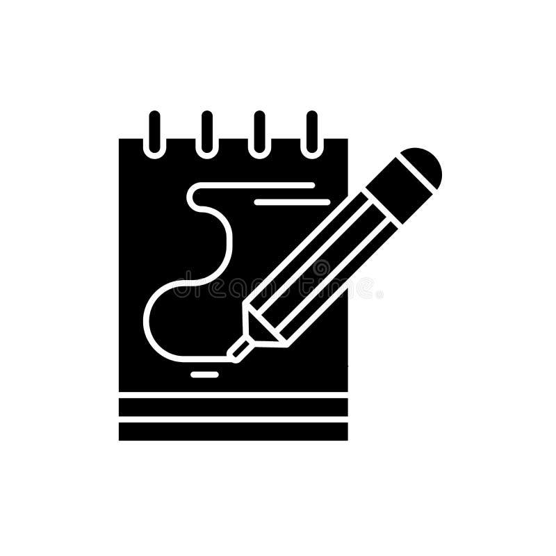 El diario observa el icono negro, muestra del vector en fondo aislado El diario observa el símbolo del concepto, ejemplo libre illustration