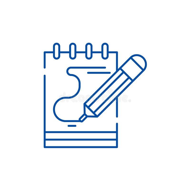 El diario observa la línea concepto del icono El diario observa el símbolo plano del vector, muestra, ejemplo del esquema ilustración del vector