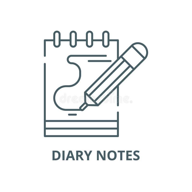 El diario observa la línea icono, vector Las notas del diario resumen la muestra, símbolo del concepto, ejemplo plano stock de ilustración