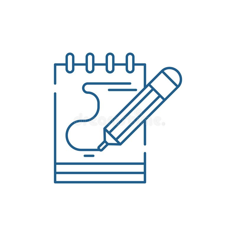 El diario observa la l?nea concepto del icono El diario observa el s?mbolo plano del vector, muestra, ejemplo del esquema libre illustration