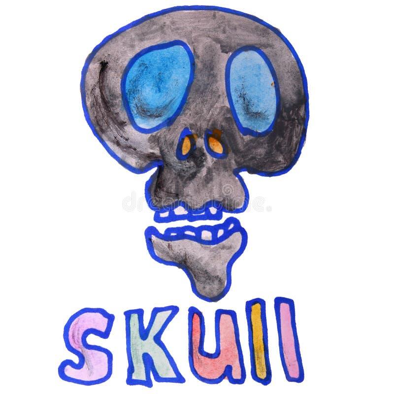 El dibujo de la acuarela embroma el cráneo de la historieta en blanco stock de ilustración