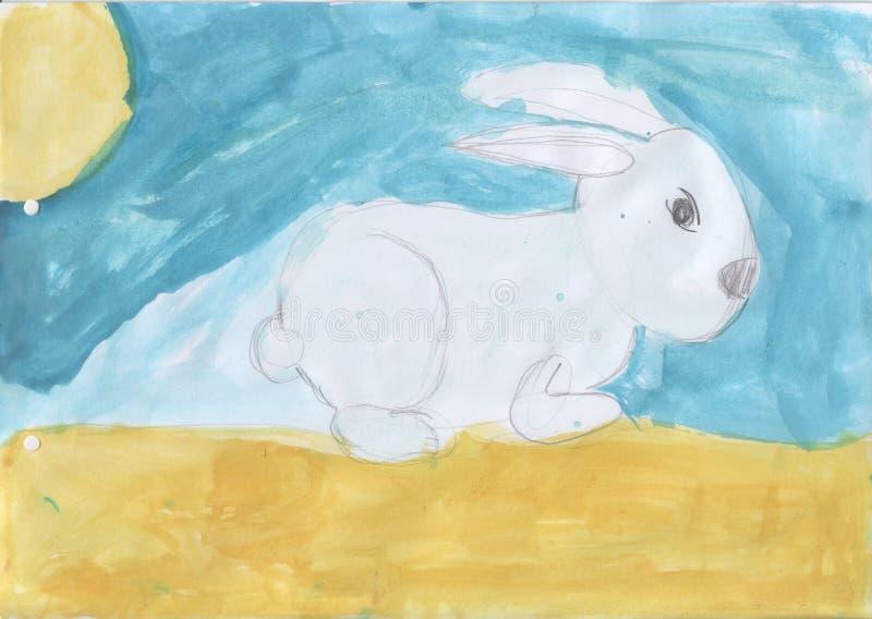 El dibujo de los niños - un conejito en un claro imagen de archivo libre de regalías
