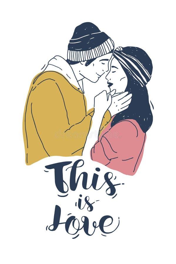 El dibujo de pares de hombre joven y el besarse y éste de la mujer es inscripción del amor en el fondo blanco Pares románticos li stock de ilustración