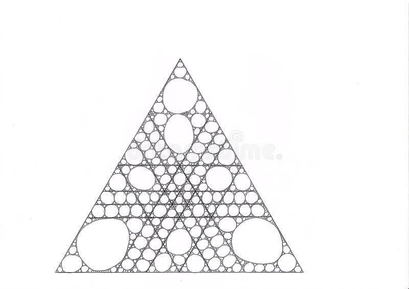 El dibujo de un triángulo hecho de triángulos más pequeños llenó de los círculos y de las elipses ilustración del vector