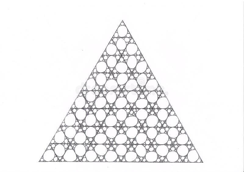 El dibujo de un triángulo hecho de triángulos más pequeños llenó de los círculos y de las elipses stock de ilustración