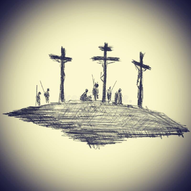 El dibujo del ejemplo de la foto en movimientos del lápiz en negro en un tema religioso crucificó a Cristo en el Calvary en un  ilustración del vector