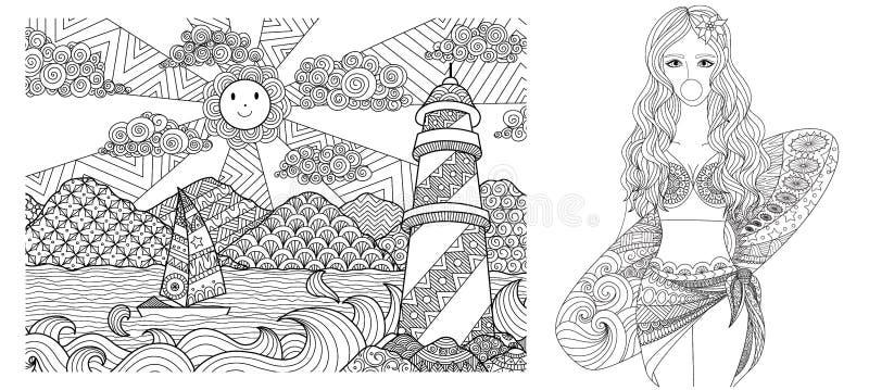 El dibujo del faro y de la señora atractiva en la playa para el libro de colorear adulto, el colorante y otro se digna elemento I ilustración del vector