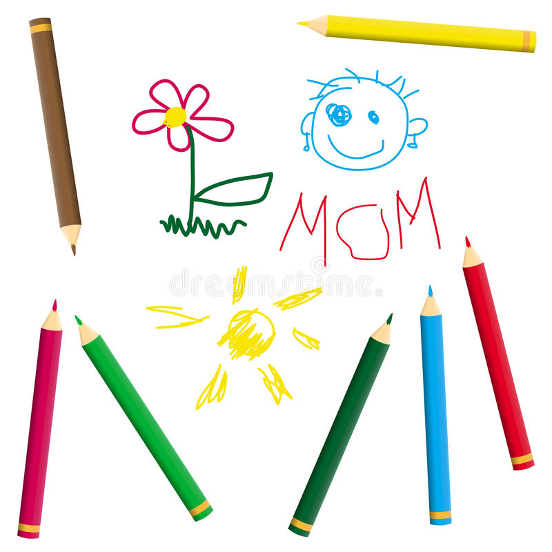 El dibujo del niño con el creyón libre illustration