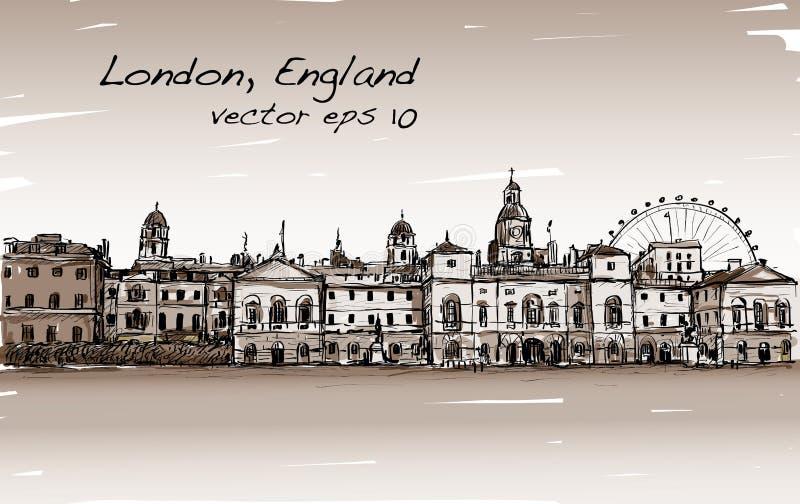 El dibujo del scape de la ciudad en Londres, Inglaterra, muestra el castillo viejo ilustración del vector