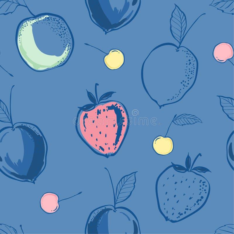 El dibujo en colores pastel dulce de moda y el bosquejo de la mano alinean las frutas s del verano stock de ilustración