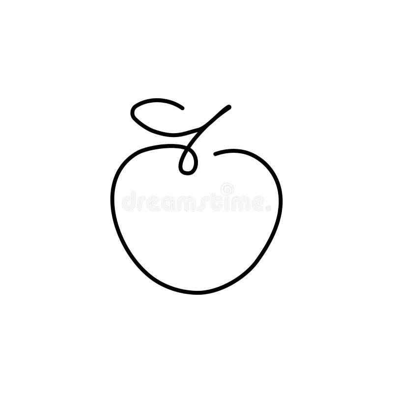 El dibujo lineal continuo de Apple, ejemplo linear minimalistic del vector blanco y negro hizo de una línea ilustración del vector