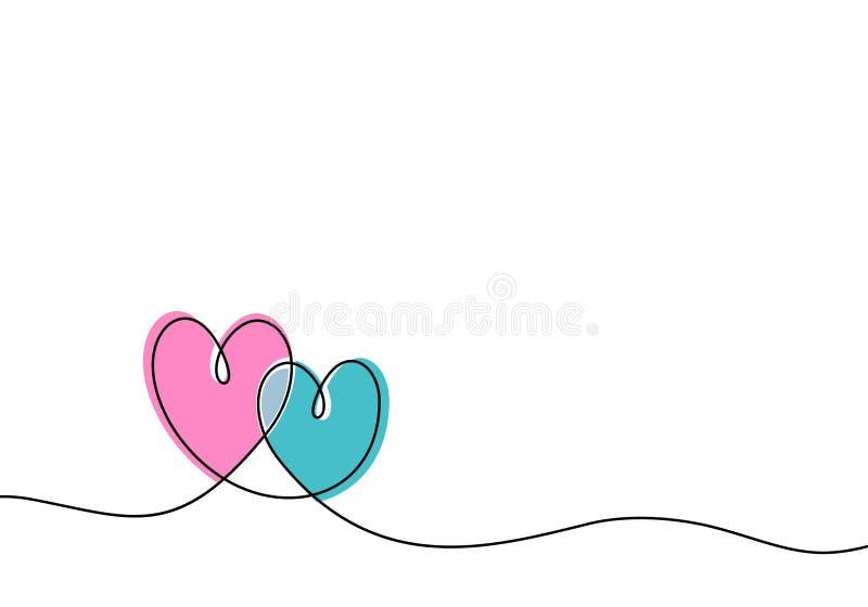 El dibujo lineal continuo de la muestra del amor con dos corazones abraza diseño del minimalismo en el fondo blanco ilustración del vector