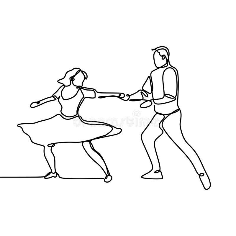 el dibujo lineal continuo de un hombre y una mujer están bailando El concepto de amor en el ejemplo del vector del amor ilustración del vector