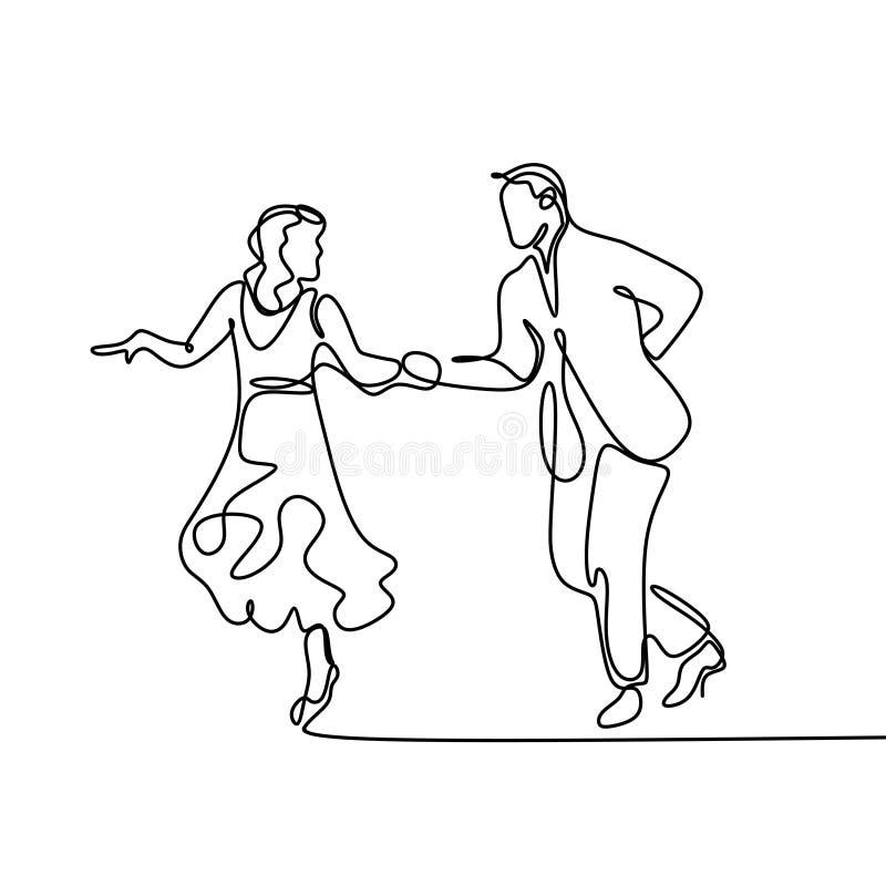 el dibujo lineal continuo de un hombre y una mujer están bailando El concepto de amor en el ejemplo del vector del amor stock de ilustración