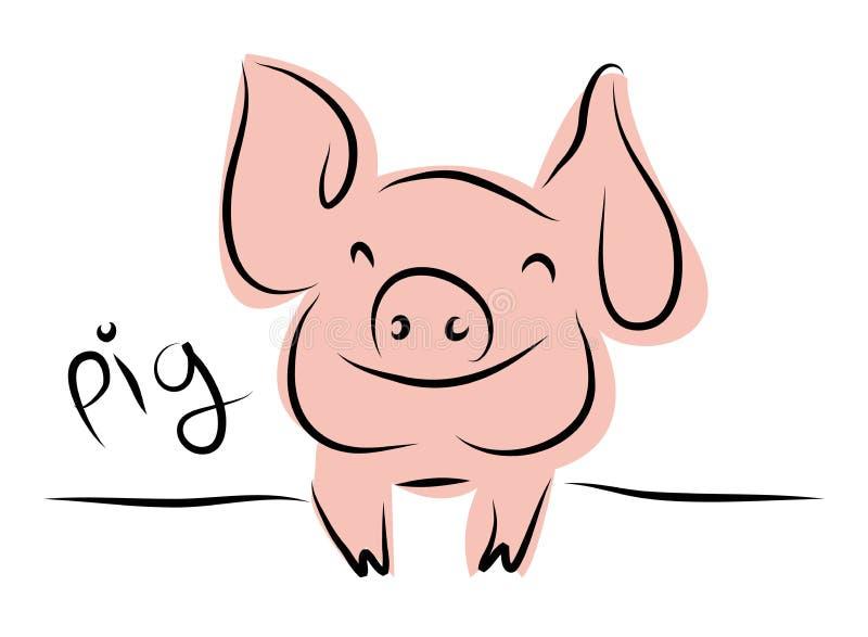 El dibujo lineal de un cerdo lindo, el año de estilo linear del cerdo y la mano dibujada Vector los ejemplos, colección del esque imagen de archivo