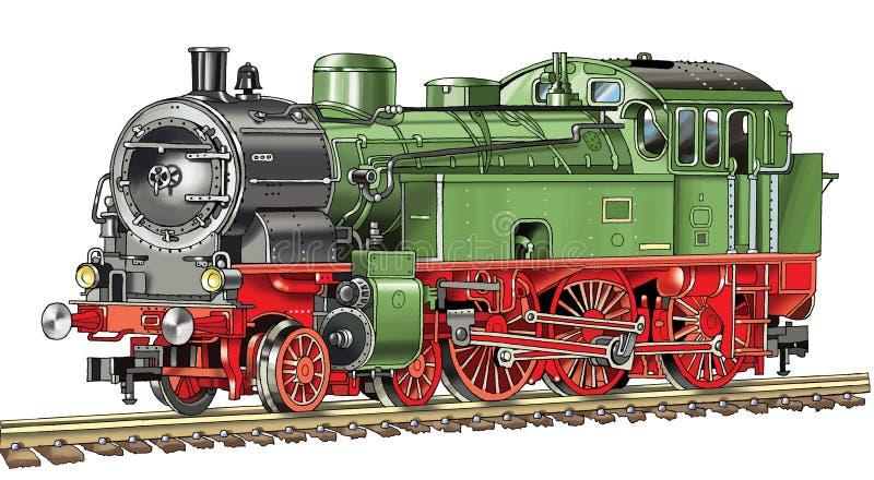 El dibujo locomotor locomotor autónomo cerca la caldera de vapor con barandilla del vehículo de los durmientes libre illustration