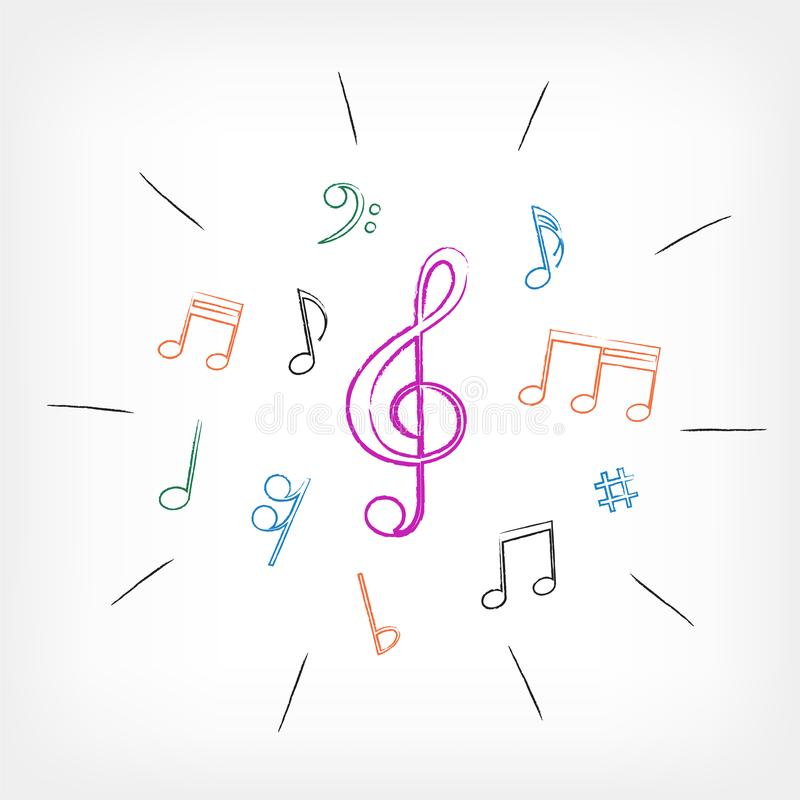 El dibujo musical observa el fondo blanco libre illustration
