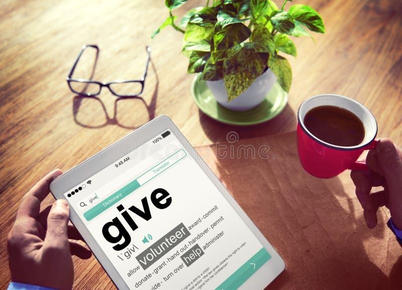 El diccionario de Digitaces da los conceptos voluntarios de la ayuda fotos de archivo libres de regalías