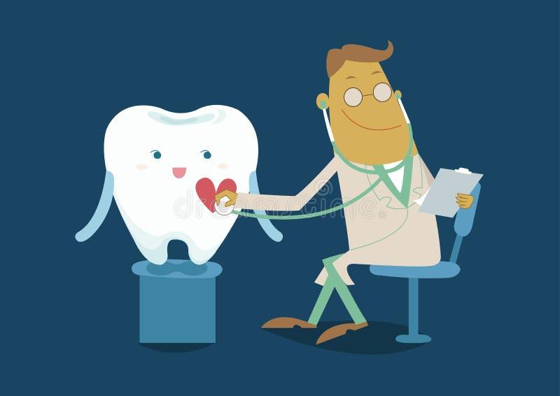 El diente del chequeo del control del doctor stock de ilustración