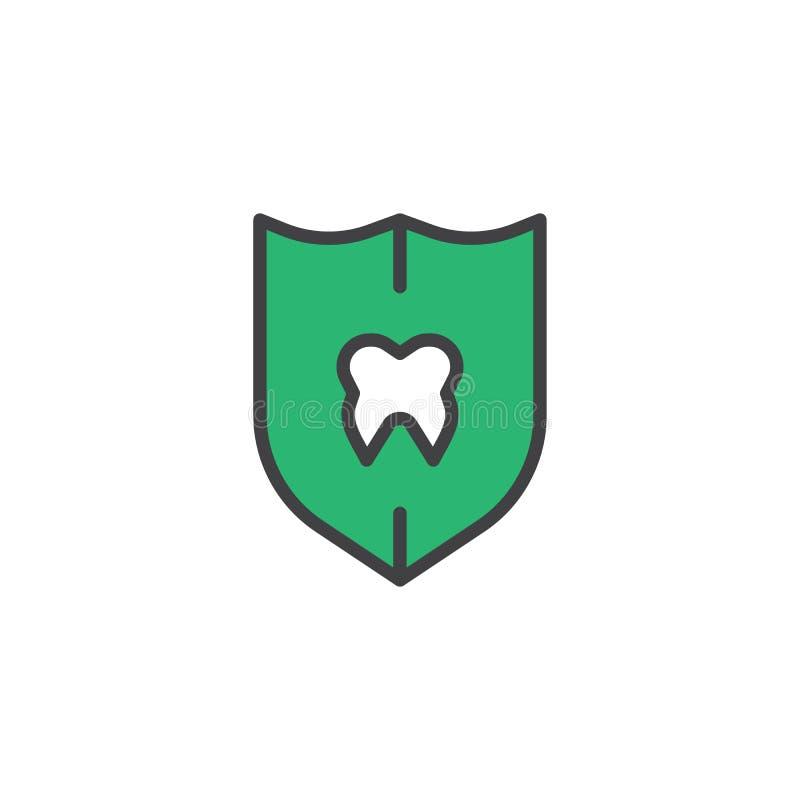 El diente del escudo protege el icono llenado del esquema ilustración del vector