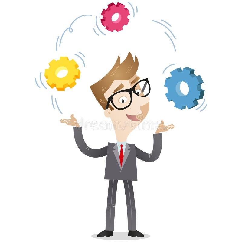El diente del hombre de negocios rueda estrategia de la creatividad libre illustration