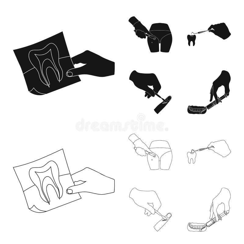 El diente, la radiografía, el instrumento, el dentista y el otro icono del web en el negro, estilo del esquema cirujano, absceso, ilustración del vector
