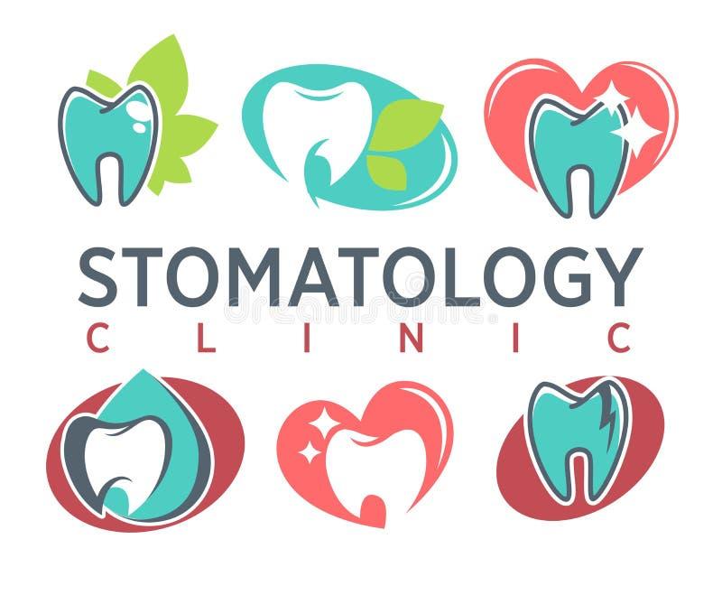 El diente y el corazón de la clínica de la estomatología vector plantillas de los iconos ilustración del vector