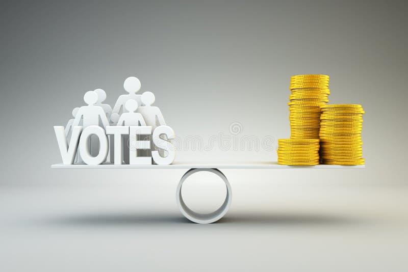 El dinero compra votos stock de ilustración