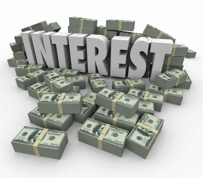 El dinero de las ganancias de la renta financiera del interés apila tarifas de la deuda del crédito ilustración del vector
