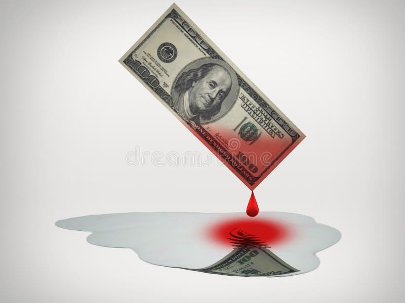 El dinero de sangre gotea en el agua dulce stock de ilustración