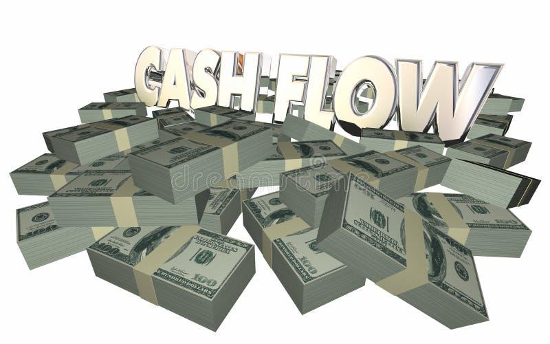 El dinero del flujo de liquidez llena finanzas de las ganancias de la renta de las pilas stock de ilustración