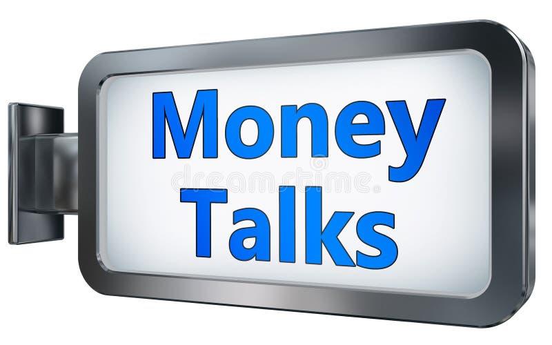 El dinero habla en fondo de la cartelera ilustración del vector
