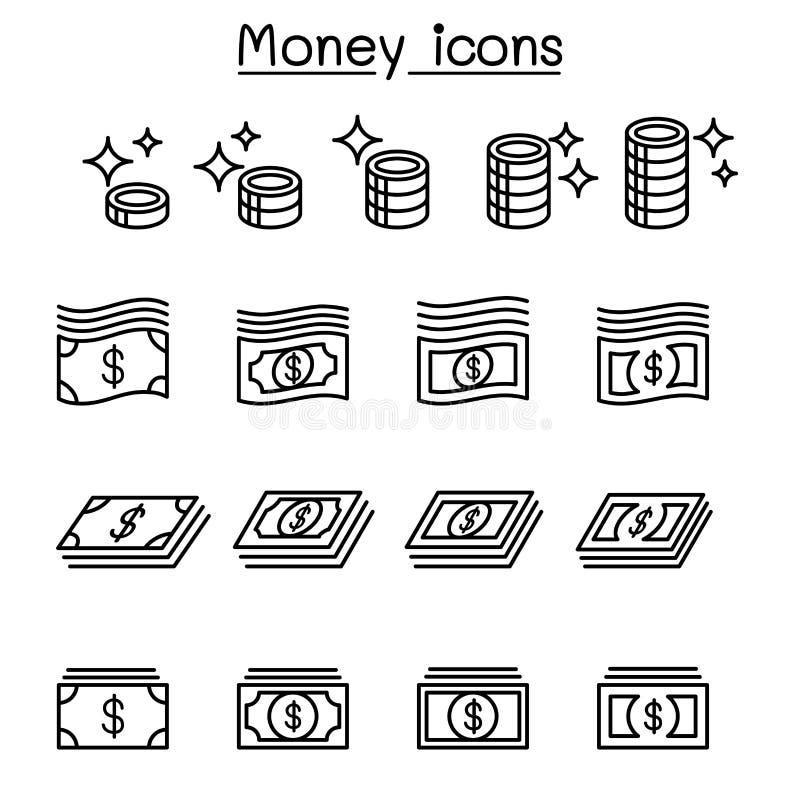 El dinero, moneda, efectivo, moneda, icono del billete de banco fijó en la línea fina st stock de ilustración
