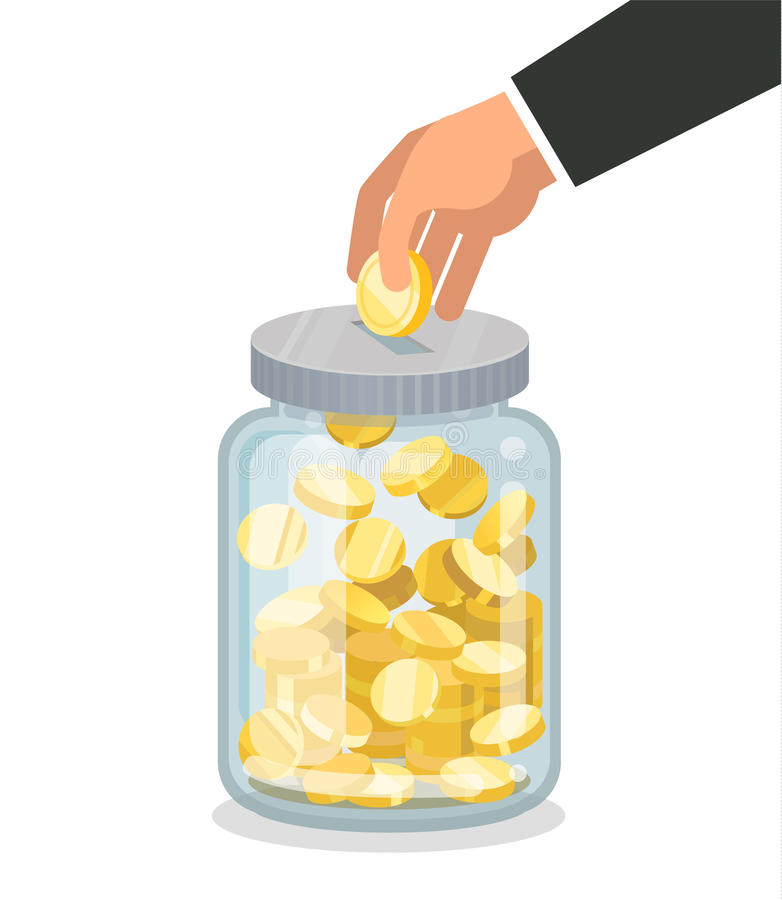 El dinero plano de ahorro sacude con la mano que sostiene la moneda stock de ilustración