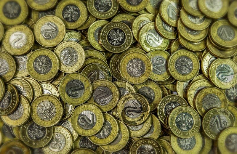 El dinero polaco acuña 2zl - fondo imagenes de archivo