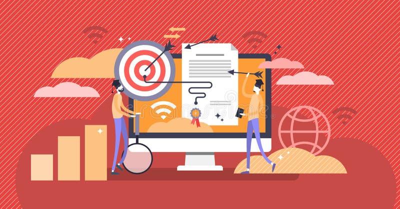 El diploma del márketing y el concepto de aprendizaje en línea vector el ejemplo libre illustration
