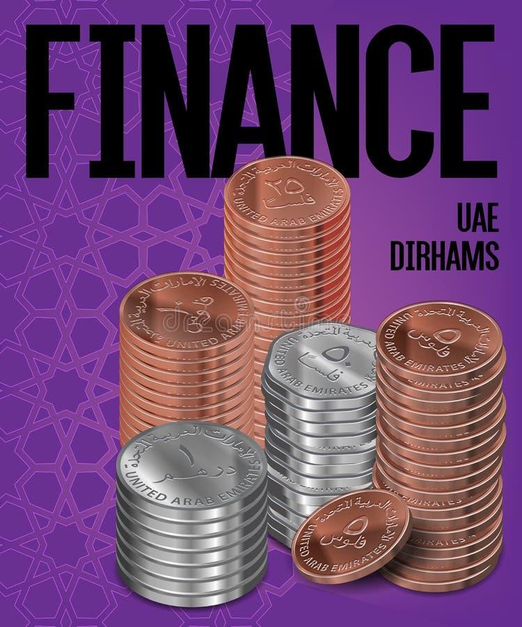 El dirham y los terraplenes de los UAE acuña diseño del cartel de la cubierta de las pilas libre illustration