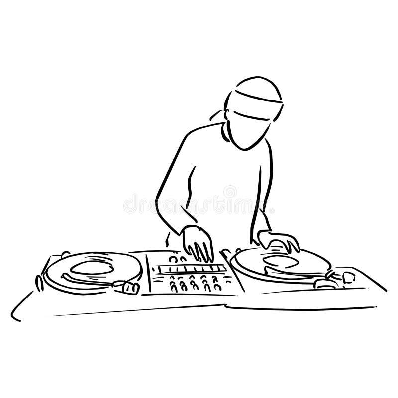 El disc jockey con la placa giratoria DJ juega el rasguño de discos de vinilo libre illustration