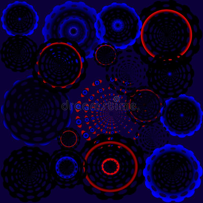 El disco de Psychadelic circunda oscuro stock de ilustración