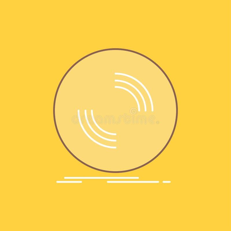 El disco, DJ, fonógrafo, expediente, línea plana del vinilo llenó el icono Bot?n hermoso del logotipo sobre el fondo amarillo par libre illustration