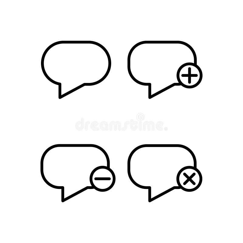 el discurso, burbuja, más, quita, iconos del signo de menos Elemento de los iconos del botón del esquema Línea fina icono para el stock de ilustración
